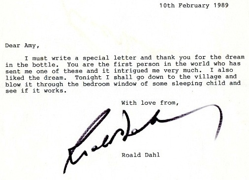 "Here's a letter from Roald Dahl to a young fan, who sent him a ""dream in a bottle."" How effing cute is that?"