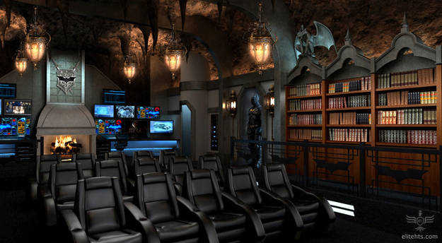 12.) This Bat Cave home theater would be any Batman fan's dream.