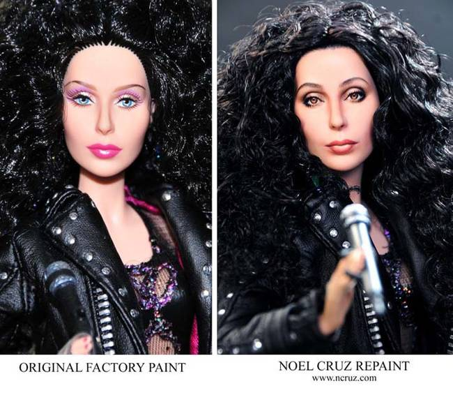 Cher may be one of the most recognizable pop stars in history, but this doll certainly doesn't show it. Cruz's work gave Cher her famous features back.