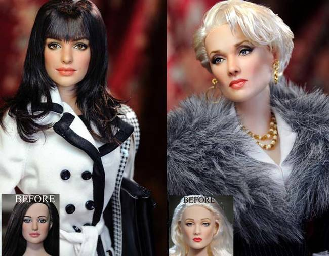These <i>Devil Wears Prada</i> collector's items look nothing like Meryl Streep and Anne Hathaway. Cruz gave the dolls their actor counterpart's distinguished features.