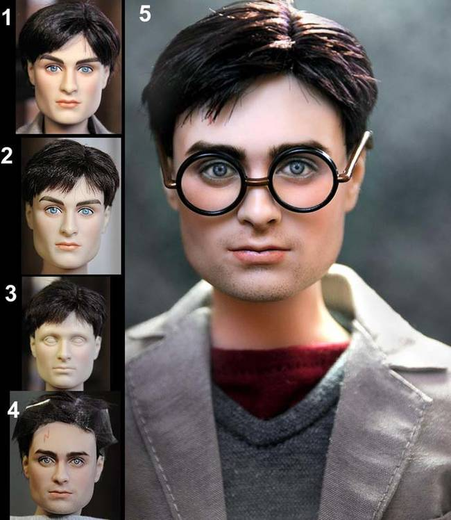 This Daniel Radcliffe <i>Harry Potter</i> doll appears to be wearing a bad toupee. Cruz fixed his hair and his boxy facial features.