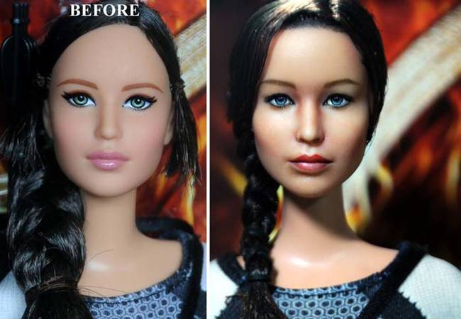 The original Katniss Everdeen doll looks like any run-of-the-mill Barbie. After Cruz worked his magic, it was a miniature Jennifer Lawrence.