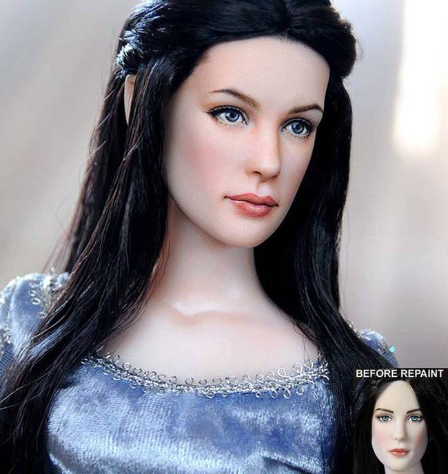 Liv Tyler as Arwen in <i>Lord of the Rings</i>'s action figure is particularly bland. Cruz's contouring makes it much more realistic.