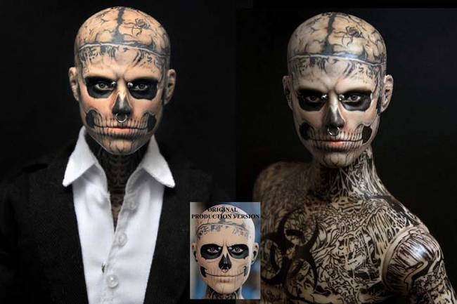 The zombie boy (a.k.a. model Rick Genest) action figure doesn't do much justice to his wild body modifications. Cruz's paint job emphasizes the shading and detail.