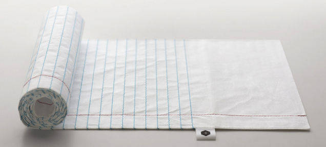 With Tyvek, the scarf allows its owner to write or draw on the body of the wrap, just like a regular piece of paper.